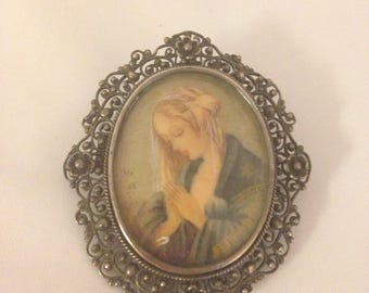 Antique Brooch Pin Victorian Silver Miniature Portrait Handpainted Lovely Woman  Etruscan granulation frame exquisite piece signed art