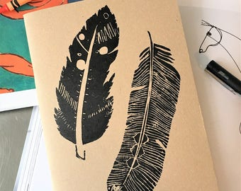 A5 feather design hand printed sketchbook / notebook / journal