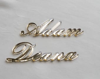 Mirror acrylic name cards for party, Wedding place cards, Acrylic laser cut names, name cards wedding, Individual Name Cards Anna