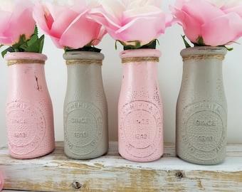 First Birthday Girl - Baby Girl Shower - First Birthday Decorations Girl - Girl Nursery Decor - Pink Milk Bottle -First Birthday Girl - Vase