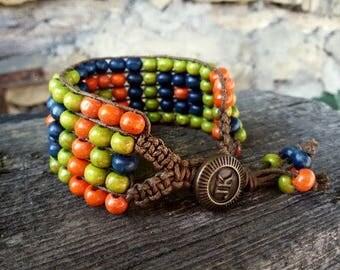 Wooden Boho bracelet Eco-friendly jewelry Hippie bracelet Knitted bracelet eco-friendly gift Hipster jewelry Multicolor bracelet Hippy gift