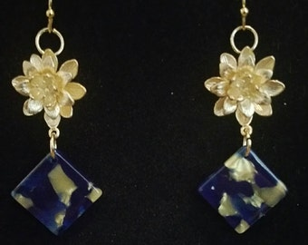 0260-Gold (plated) Lotus Flower Earrings