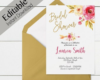 Bridal Shower Invitation, Editable PDF, Bridal Shower Printable, Floral Bridal Shower, Pink Gold, DIY Bridal Shower, Invitation Template