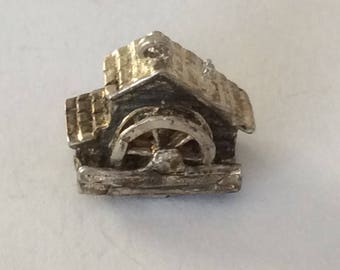 Sterling silver old grist mill charm vintage #381 s