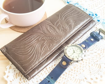 USSR tooled leather woman wallet with tags 1980's made in Lithuania