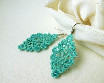 Mint dangle drop earrings Filigree lace earrings Chandelier bohemian earrings Stylish tatted lace jewelry Lovely everyday earrings