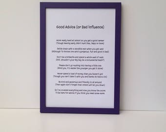 Fun framed poem with 'advice', Gift from godmother, Present for daughter's 21st birthday, leaving for college, Can be personalised with name