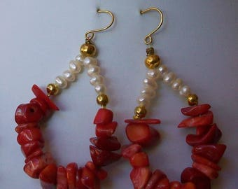 Earrings with red coral and cultured pearls, 60 mm