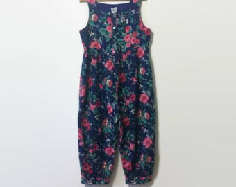 1990s Laura Ashley Floral Corduroy Jumpsuit Overalls L