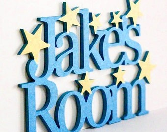 Personalised Bedroom Sign, any name, choice of colour, hearts or stars, bedroom sign, door sign, childs room, childs bedroom, wood sign