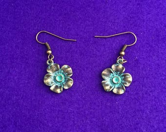 Verdigris jewelry / flower earrings