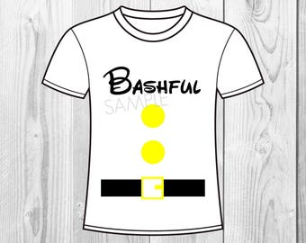 Snow White and the Seven Dwarfs Birthday Iron On Shirt Transfer - tshirt or clip art printable - Instant Download - Bashful