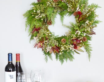 Leucadendron and Tallowberry Wreath | Front Door Wreath  | Cedar Wreath | Christmas Wreaths | Door Wreaths for Christmas | Holiday Wreaths