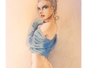 Erotic illustration 'Blue'
