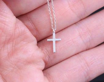 Tiny Silver Cross Necklace, Dainty Cross Necklace, Sterling silver necklace, Delicate cross necklace, CZ cross necklace, Silver CZ necklace