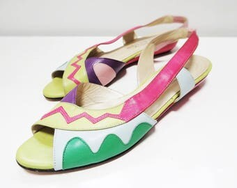 80s Shoes, UK6.5, Bright Footwear, Leather Shoes, Colourful Shoes, Footwear, Vintage Shoes, Vintage Footwear, Slip On Shoes, Sandals, Retro