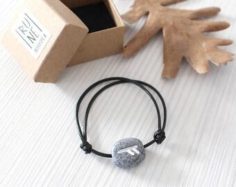 Rune Bracelet/ Men Bracelet/ Women Rune Bracelet/ Gray Rune with Black Cord/ Futhark Rune/ Fashion Bracelet/ Minimal Bracelet