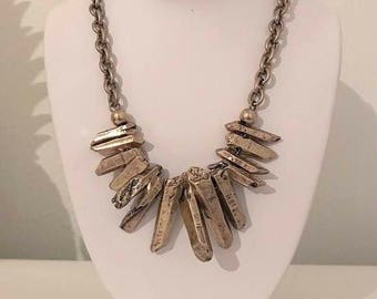 Gold Crystal Stone Hammered Bib Necklace
