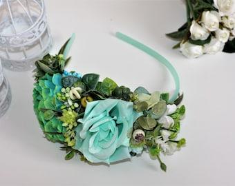 Flower crown - Bridal Flower headband - Wedding Crown - Floral Hairpiece - flower crown- flower headdress - Turquoise flower crown