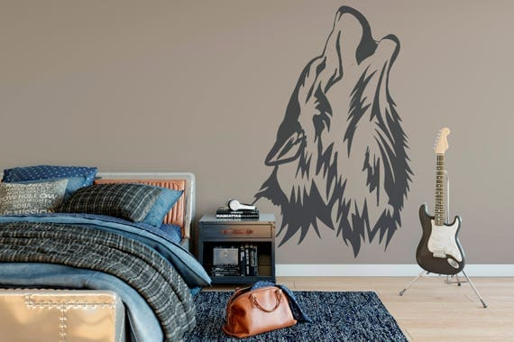 Wolf Howling Head Vinyl Wall Art Decal