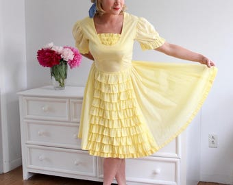 Vintage 1970's Yellow White Polka Dot Ruffled Square Swing Dance Rockabilly Dress