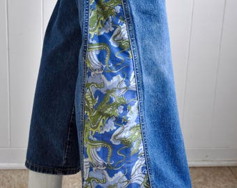 Paris Blues Psychedelic Wide-Leg Bell Bottoms with Dragon Side-Split Detail, Size 7, Hippy/Boho/1970s/Sonny and Cher/Woodstock