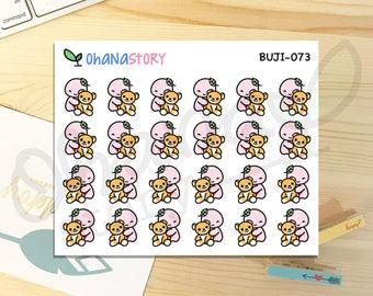 BUJI-073 | Hug Timmie the Bear | Hand-drawn Planner Stickers