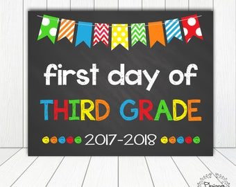 First Day of Third Grade Chalkboard Poster Photo Prop 11x14 Printable Instant Download Digital File