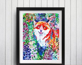 Fox Art Print, Fox in Foxgloves, Fox wall decor, Fox decor, Floral Fox