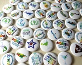Sea Glass Round Pin-Back Buttons - Seaglass art mosaics and fun sayings, 1 inch buttons, Single or Mix and Match Set of 4 Beach Glass Pins