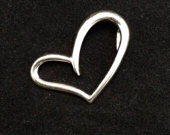 925 Sterling Silver asymmetrical Open Heart Love Pendant, Ladies Heart Pendant