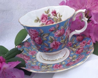 RESERVED Harewood Chintz Tea Cup & Saucer by Royal Albert, Pink Roses on Turquoise, England, Merrie England Series, Bone China, 1960, 1970