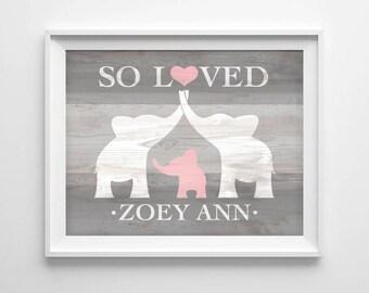 Elephant Nursery Wall Art, Custom Baby Name Print, Elephant Baby Shower Gift, Nursery Name Sign Personalized Baby Girl Nursery DIGITAL PRINT