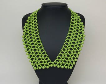 Bib necklace, statement necklace, green statement necklace, romantic necklace, green bib necklace, modern necklace
