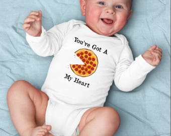Pizza Baby Shirt, Pizza Baby Shower, Youve Got A Pizza My Heart Baby Boy, Heart Baby Outfit, Hipster Baby Girl, Heart Baby Romper, Cute Baby