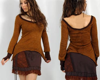 PULLOVER TOP Elegant, Earthy, Mori, Psywear for Women, Alternative Clothing, two different materials, low neckline, sleeves with handwarmers