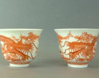 19th century Chinese Qing dynasty 'ShenDe Tang' mark liquor cup pairs with box