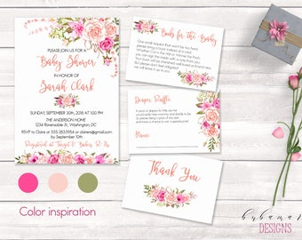 Pink Floral Baby Shower Invitation Set Romantic Blush Roses Boho Baby Shower Invite Suite Flowers Books for Baby Diaper Raffle Cards - CS017