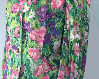 Vintage 1980s SPORTING DRESS green floral pleated sleeves top blouse UK 14/16