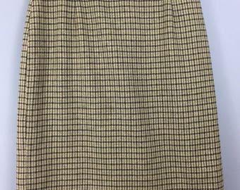 VINTAGE EASTEX fitted green tweed check pencil skirt UK 10/12 100% wool