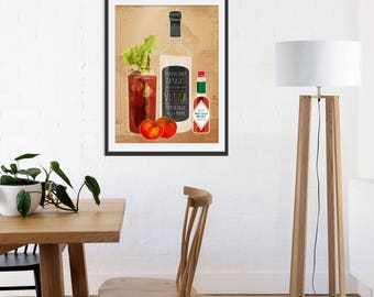 Bloody Mary Art Print by Green Lili. Alcohol Drinks Gift. Bar Kitchen Interiors.