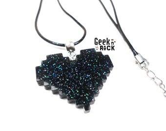 Geek necklace - Pixel heart glitter holographic vibrant gamer video game nerd