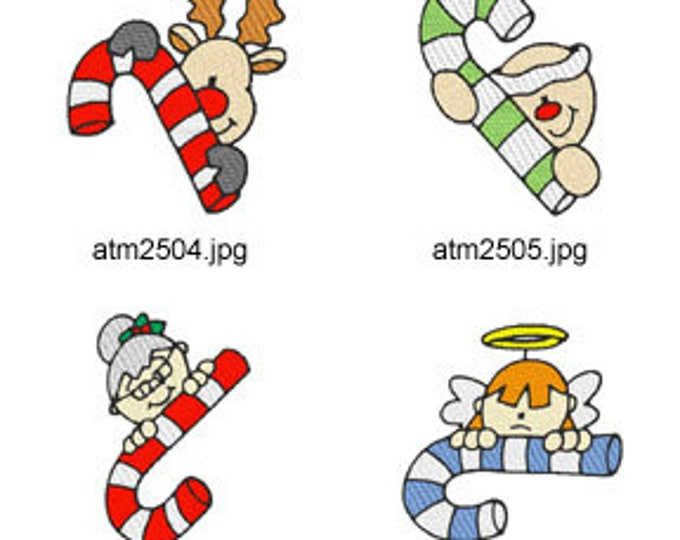 Candy-Cane-Peekers  ( 7 Machine Embroidery Designs from ATW ) XYZ17M
