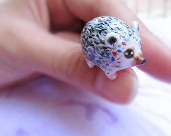 Miniature hedgehog totem ooak animal figurine Fantasy hedgehog miniature sculpture Polymer clay hedgehog spirit animal figure