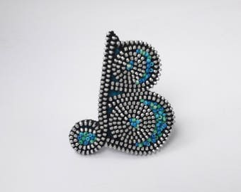Letter B Initial brooch Monogram pin Personalized gift Zipper brooch OOAK brooch Zipper jewelry Name letter b