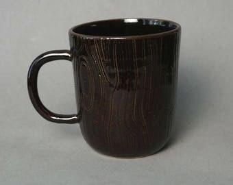 Tall brown wood-patterned mug -- Handmade stoneware ceramics