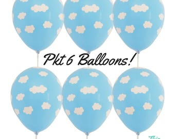 6 x Light Blue Cloud Balloons Hot air balloon, up & away Baby Shower Decoration