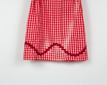 Vintage Red with White Gingham Half Apron, Valentine's Day