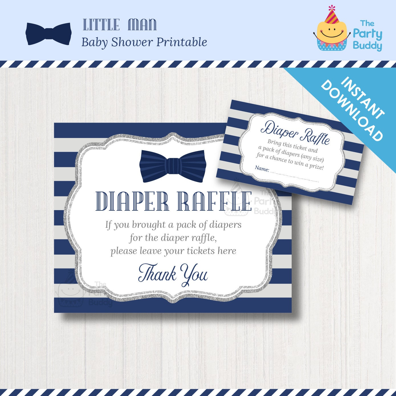 little man diaper raffle ticket card poster sign navy gray