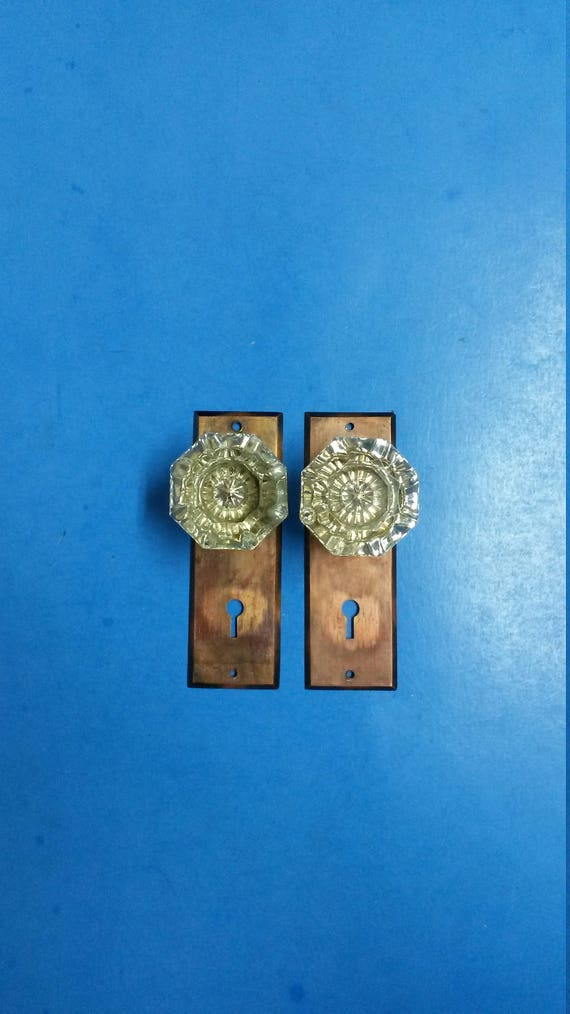Antique Dummy Door Knobs, 8 Point Glass with Cast Bronze Plates, Pair of 2 Each, ca 1905